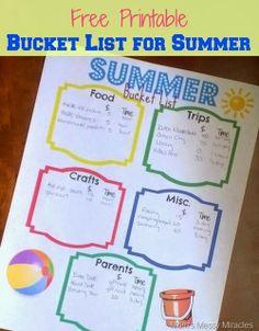 #Free Printable Bucket List for #Summer