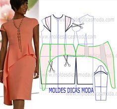 Analise de forma correta o desenho da transformação do molde de vestido de gala para poder fazer a leitura de forma correta.