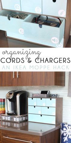 Are you drowning in cords and cables, and always searching for the right charger for your electronic devices? Use an IKEA Moppe with custom cut icon labels to get organized in the kitchen, entry, mudroom, or office!