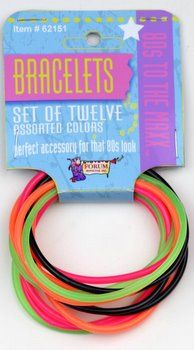 This twelve pack features the classic thin rubber bracelets in black and neon colors. Jelly Bracelets, Neon Bracelets, Rubber Bracelets, Charm Bracelets, Bangles, 80s Party, Disco Party, Eighties Party, Halloween Club