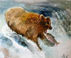 Original watercolor Brown bear Bear fishing Hunting gift Hunting time Catching salmon Fishing  Bear Paintings Wild nature Wild bear by ArtannaStore on Etsy