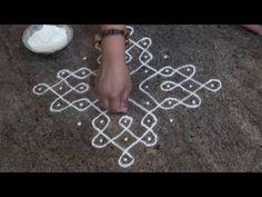 Daily rangoli/9 dots kolam/Easy Simple Rangoli/ಬಳ್ಳಿ ರಂಗೋಲಿ /balli(sikku) rangoli - YouTube