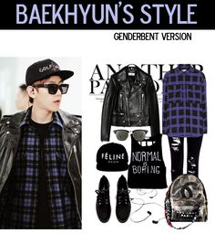 baekhyun airport fashion, genderbent version ~ #exo
