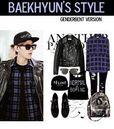 baekhyun airport fashion, genderbent version ~ #exo