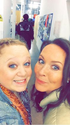 Amanda Henderson & Amanda Mealing on casualty set.