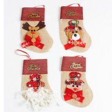 Natal Meias Decoração Garfo Talheres Dinnerware Capa sacos de Doces de Natal Saco de decoração de natal meias adornos de navidad # TX(China)