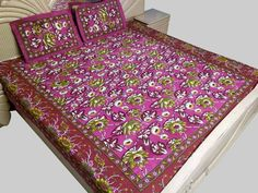 Double Bed Sheet with Pillow Cover Purple 901-2 Cotton Fabric Floral 85 x 90in