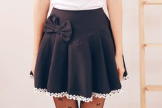 cute black skirt with white details, cute outfit, K Fashion,  (≧∇≦)/ casual, cute outfit, Cute Korean Fashion, korea, Korean, seoul, kfashion, kpop fashion, girl's wear, ladies' wear, pretty, kawaii