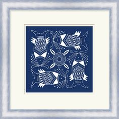 Indigo and white fish art by Artist Vision Studio. From Surya (LJ-4161).