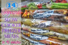 14 Slow Cooker Freezer Meals In Just 90 Minutes  http://therealisticorganizer.blogspot.co.uk/2014/01/organized-slow-cooker-freezer-meals.html   With 14 different recipes which serve 3-4 adults you'll be able to stock up your freezer and feed the whole family…that's 2 weeks of dinners for less than $100! By spending just 90 minutes one afternoon making these meals then popping them in the freezer you'll free up your evenings to just relax while the crock pot does all your cooking.