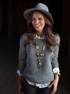 Silpada Style..Taking Style by the Horn  Great with Gray  One of our go-to looks for fall is a chunky sweater layered over a crisp collared shirt (and we simply can't get enough of this chic, gray hat!). But, what takes this outfit from good to great is the attention-grabbing Wanderlust Necklace ($99). Fashioned out of Horn, Smoky Quartz, Swarovski crystals and Brass, this pretty piece is the perfect example of exotic elegance mixed with a bit of sparkle.  Shop: mysilpada.com/kelley.weis
