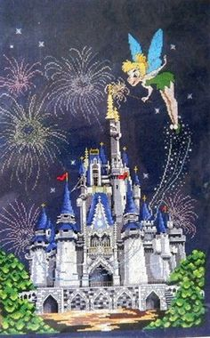 New The Art of Disney Counted Cross Stitch Kit Cinderella Castle Tinkerbell.