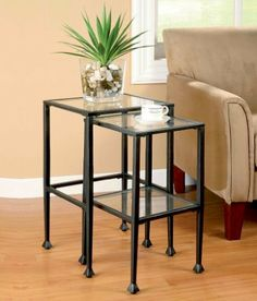 2PC Traditional Metal Nesting Tables With Glass Top Shelves In Black Metal Finish. (Coaster Furniture 901073) by Coaster Home Furnishings. $149.95