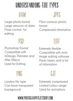 Do you need help understanding different file types? Whether you are a photograp… Do you need help understanding different file types? Whether you are a photographer, designer or simply work with computes it is important to know. Dslr Photography Tips, Photography Cheat Sheets, Photography Lessons, Photography For Beginners, Photography Backdrops, Photography Tutorials, Photography Business, Digital Photography, Indie Photography