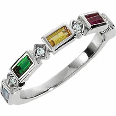 Picture of Silver 1 to 5 Baguette Stones Stackable Mother's Ring
