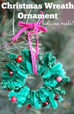 Another great kid-made christmas ornament for your christmas tree.  Keep those hands busy and strengthening fine motor skills with this Christmas Wreath Ornament using pipe cleaners!