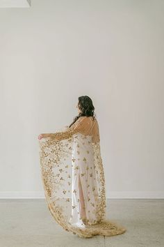 Beaded Gold Cape for a Stunning Bride with Unique Personal Style