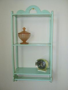 Vintage MINT SHELF Green Wood Wall Rack 3 Shelves with 2 towel racks by LavenderGardenCottag