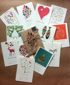 2013 Calendar Mini Gallery - Kraft - Christmas New Year Birthday Anniversay gift - Children Decor Kids Room. $22.00, via Etsy.