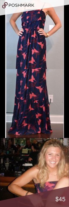Navy Express Maxi Navy blue chiffon with coral butterflies. Adjustable straps. Can be dressed up for dressed down. Express Dresses Maxi