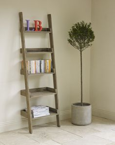 Finn large ladder bookcase - Hand crafted, solid reclaimed pine, contemporary rustic style furniture from Lombok