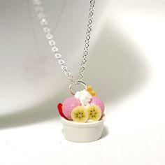 Kawaii Cute Miniature Food Necklaces - Ice Cream Sundae Frozen Yogurt Dessert Necklace with Sterling Silver ...