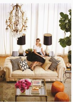 Sew French: Shabby-Chic-Esque ~ Lauren Conrad's new condo! Love the French feel, the use of neutrals, pops of color and black to ground things.