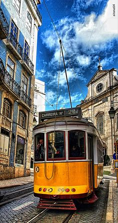 Your stone streets. like the ripples of the waves. carry us through your glowing glory. Carry us Lisboa. Spain And Portugal, Portugal Travel, Places To Travel, Places To See, Lisbon Tram, Week End En Amoureux, Trains, Train Tracks, Travel Memories