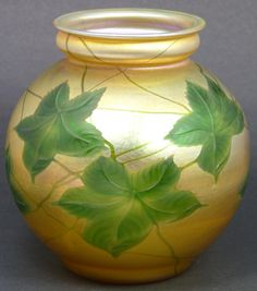 TIFFANY BULBOUS FAVRILE ART GLASS VASE