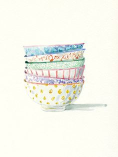Still Life Kitchen Decor Print of Original Watercolor. Patterned bowls, inspired by Inside Out Bowls from Anthropologie .  A print of one of my