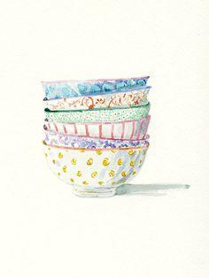 Tirage d'art de la peinture aquarelle originale--bols à motifs