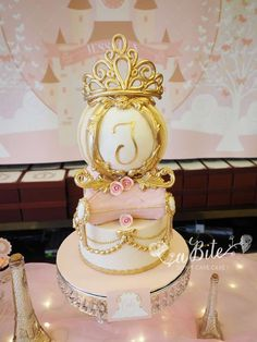 Pink and gold princess birthday party cake! See more party ideas at CatchMyParty.com!