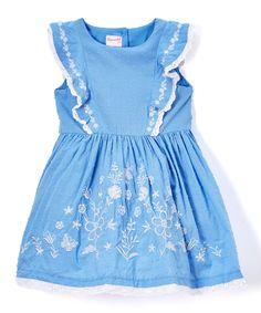 Blue Abstract Angel-Sleeve Dress - Toddler & Girls