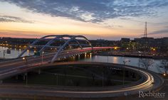 View of the Frederick Douglass–Susan B. Anthony Memorial Bridge from the Capron building, Rochester, NY.  Photo by Matt Wittmeyer for Rochester Magazine.
