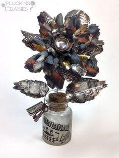 Make a Steampunk Flower with Tim Holtz Jumbo Tattered Florals | Pluckingdaisies.com #Sizzix #RangerInk