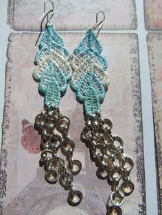 Lace Earrings -  Evie Hand dyed by DaisyLaceDesigns For sale on Etsy, £15.00