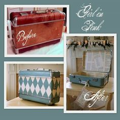 faire pareil avec le coffre Vintage Suitcase Makeover - Decorative painting with Chalk Paint® Decorative Paint by Annie Sloan - Ready to be repurposed as storage for any room. Cute Suitcases, Vintage Suitcases, Vintage Luggage, Decoupage Suitcase, Painted Suitcase, Annie Sloan, Furniture Makeover, Diy Furniture, Painted Furniture