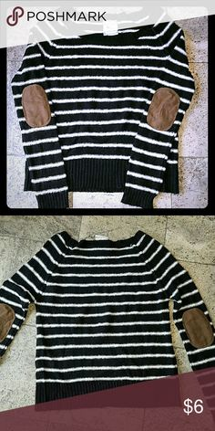 Fuzzy striped sweater with elbow patches Fuzzy black and white striped sweater with brown faux suede elbow patches; worn several times; size tag was cut off because itchy Pink Rose Tops