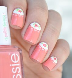 Nailstorming half moon - romantic roses half moon nail art over Essie summer 2015 peach side babe - http://lapaillettefrondeuse.blogspot.be/2015/06/nailstorming-113-half-moon.html
