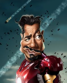 Robert Downey, Jr as Tony Stark as Iron Man Cartoon Faces, Funny Faces, Cartoon Art, Cartoon Characters, Caricature Artist, Caricature Drawing, Funny Caricatures, Celebrity Caricatures, Robert Downey Jr