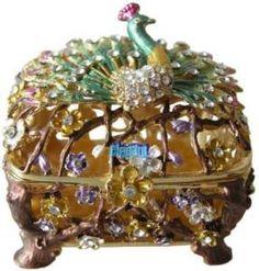 Peacock Jewel Crystals Jewelry Trinket Box