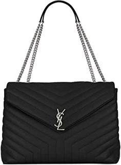 Saint Laurent Women's Loulou Black Y-shaped quilted leather chain bag (Antique Silver-Toned Metal Hardware) Saint Laurent Handbags, Luxury Fashion, Mens Fashion, Leather Chain, Quilted Leather, Antique Silver, Shoulder Strap, Saints, Ysl