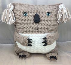 Koala Bear Pillow with polymer clay accents – crochet pattern – Amigurumi tutorial – pillow pattern – decor – marsupial pattern – Dorothy Hackbarth - Crochet Bag Crochet, Crochet Pillow, Crochet Toys, Amigurumi Tutorial, Crochet Patterns Amigurumi, Cute Koala Bear, Nautical Wreath, Crochet For Boys, Animal Pillows