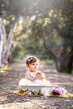 Baby girl sits in a bowl surrounded by flowers on a tree lined path with bubbles in this portrait by Nature's Reward Photography 6 Month Olds, 1 Year Olds, Children Photography, Photography Tips, Baby Sitting, Sit Up, 6 Months, Bubbles, June