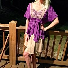 purple/bridge sharkbite hem boho top! Last chance! Beautiful detail! Back cut out- pretty shape at neckline- beige embroidered detail cinched in waist with tie! Love!  Follow me on Instagram @kfab333 for more items😊 Tops Blouses