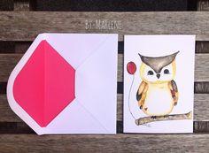 Grusskarte Eule mit passendem Umschlag! Größe/Maße/Gewicht: DIN A6 (14,8 cm x 10, 5 cm ) = 2,50 € Verwendete Materialien Aquarellfarben , Aquarellpapier, Postkartendruck, gedruckt in...