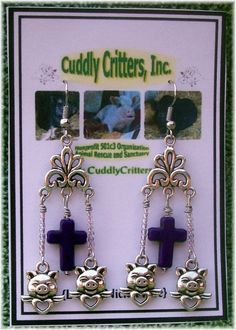 Tibetan Silver Angel Pigs  with  Purple Cross Dangle Earrings - Handmade in USA #Handmade #DropDangle