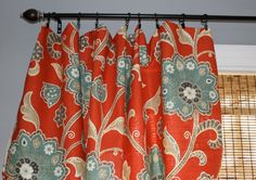 Red, Grey Blue and Ivory Floral Curtain Panel/ Custom Drapery in Ankara