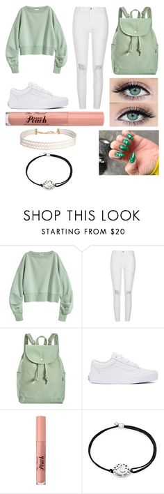 """""""Causal Light Green Outfit"""" by oliviaballard04 ❤ liked on Polyvore featuring River Island, BAGGU, Vans, Too Faced Cosmetics, Alex and Ani and Humble Chic"""