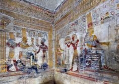 [Egypt 'Seti I in Amun Chapel at Abydos. Ancient Beauty, Ancient Egyptian Art, Ancient Rome, Papyrus, Modern Egypt, Science Art, Ancient Civilizations, Archaeology, Photos